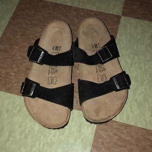 Birki Birkenstock black suede two strap sandal 9 7